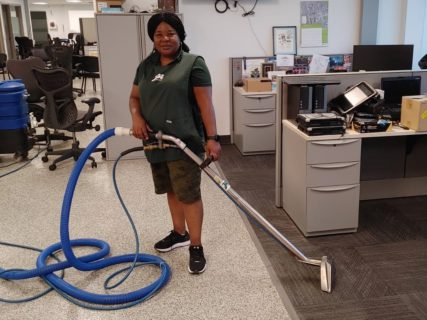 JDI Cleaning Systems Franchise Owner Wendy of Milton at a cleaning job